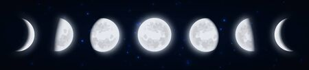 Lunar phases icon set, Moon phases in the night starry sky, Shape of the directly sunlit portion of the Moon as viewed from Earth. Earth satellite icons, vector illustraton.