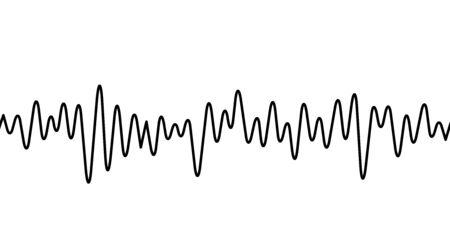 Black curvy line on white background. Radio wave or music equalizer, sound wave. Stylized Cardiogram, interface design for medical equipment, vector illustration.