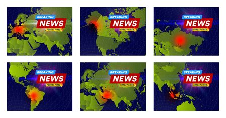 Forest fires newspaper headline concept. Fires places on world map, banner design template for news, social media or web. Vector illustration. 向量圖像