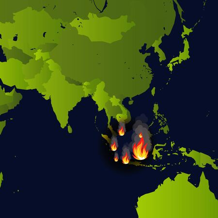 Forest fires banner, fire place on map, disaster in indonesia news, paper that burns smokes and smolders from fire, vector illustration.
