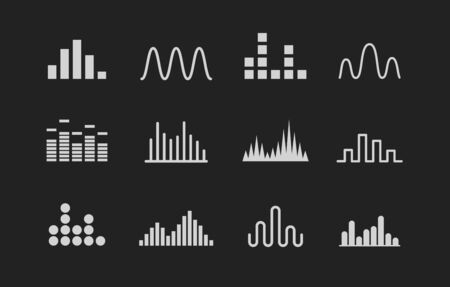 Set of Sound wave . Music wave white icons on black background. Vector illustration.