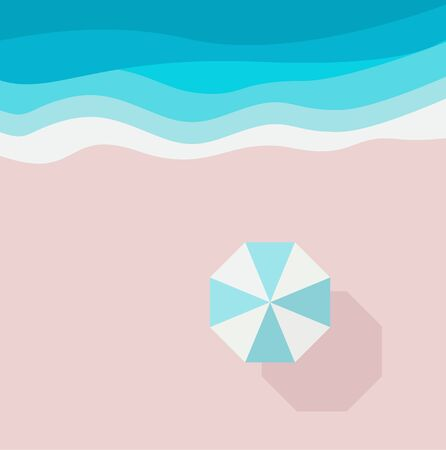 Azure sandy beach, piece of sea or ocean and beach umbrella, top view. Summer holiday background design template for web graphic, banner, flyer, card, brochure, leaflet. Vector flat illustration.