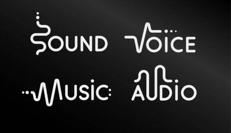 Modern set of music app. Vector creative emblems on black background.