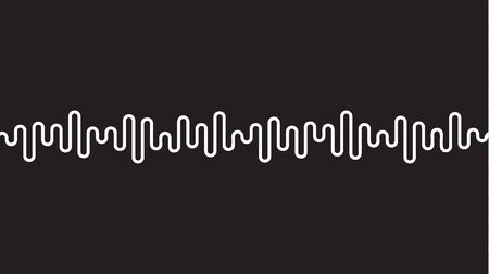 White curvy line on black background. Radio wave or music equalizer, sound wave. Stylized Cardiogram, interface design for medical equipment, vector illustration. Ilustração