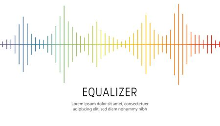 Colorful lines on white background. Radio wave or music equalizer, sound wave. Stylized Cardiogram, interface design for medical equipment, vector illustration.