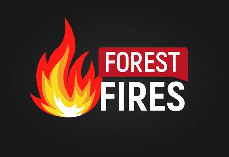 Forest fires. Big flame with text flat  template. Isolated vector illustration on white background.