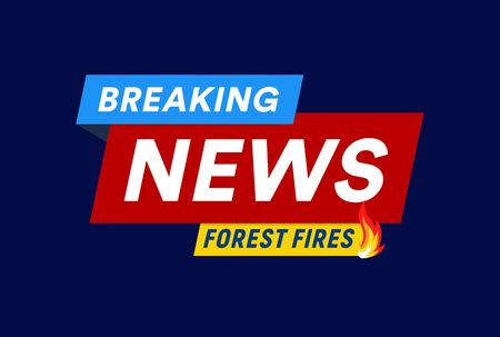 Forest fires. Breaking news headline template. Flat   template. Isolated vector illustration on white background. Иллюстрация
