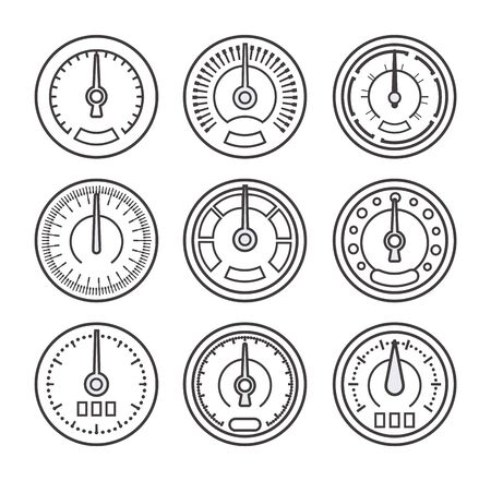 Set of Measuring device drawn by lines, contour and outline style design. Icons for medicine, transport, technology, construction, engineering and science. Isolated vector illustration.  イラスト・ベクター素材
