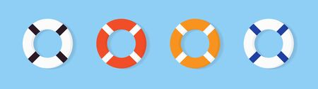 Set of colorful Lifebuoy icon, equipment of rescuers to save drowning people, vector graphic deign element for business and holiday illustration.