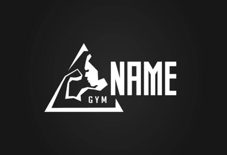 Gym vector icon. Stylized contour silhouette of inflated bodybuilder or athlete showing biceps and triceps. Concept design for GYM hall.