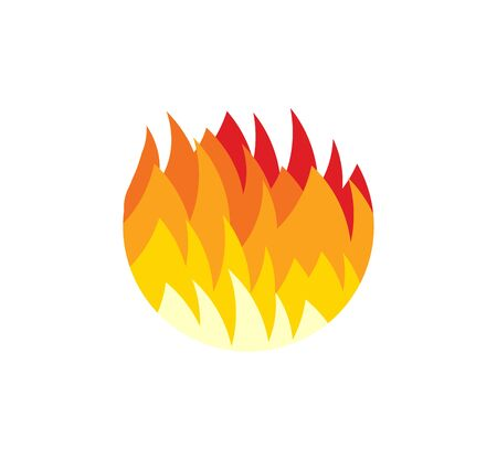 Fireball icon. Red and yellow tongues of flame, Flat Fire round  template. Modern emblem idea. Concept design for business. Isolated vector illustration on blank background.