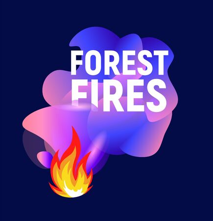 Forest fires. Abstract purple wavy shapes. Flat   template. Isolated vector illustration on white background. Иллюстрация
