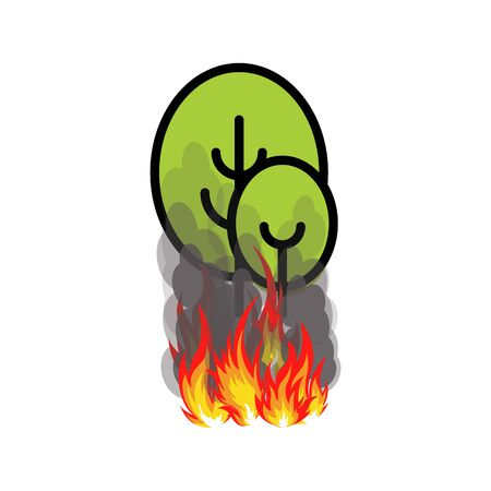Forest fires icon, Two trees with fire under them, vector illustration on white background.