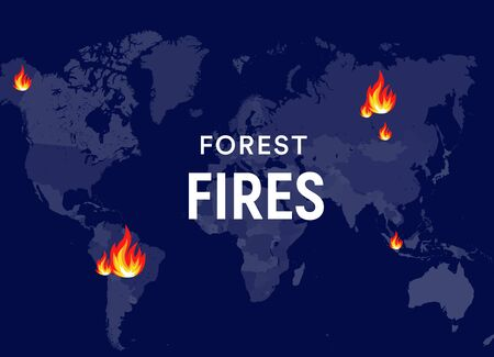 Breaking News bushfires Poster concept. Fires places on world map, forest fires centres. Banner design template for news, social media or web. Vector graphic. EPS10. 向量圖像