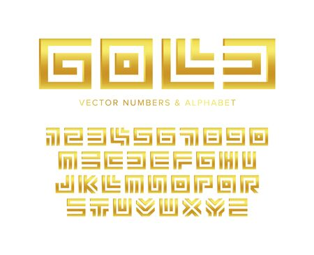 Gold letters and numbers set. Geometric maze golden Jewel style vector Latin alphabet.