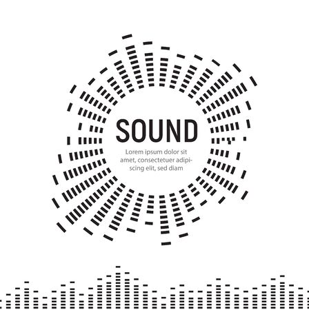 Music sound circle frame wave  audio digital equalizer technology, console panel, pulse musical, vector illustration.