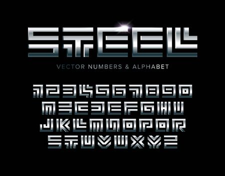 Steel letters and numbers set. Polished metal texture, square maze style vector latin alphabet.  イラスト・ベクター素材