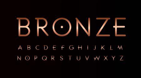 Bronze letters set. Thin lines unusual style vector latin alphabet.