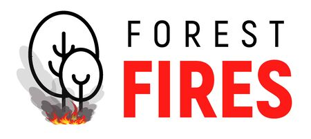 Forest fires. Two trees with bonfire under them. Flat line  template. Isolated vector illustration on white background.