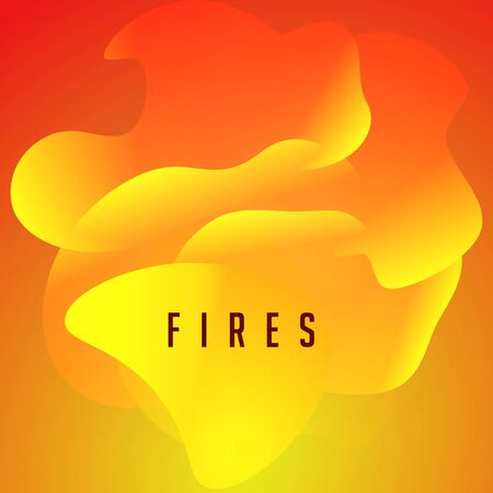 Fires, orange flame tongues, wavy abstract shape, modern design for poster, banner, cover and web. Vector illustration.