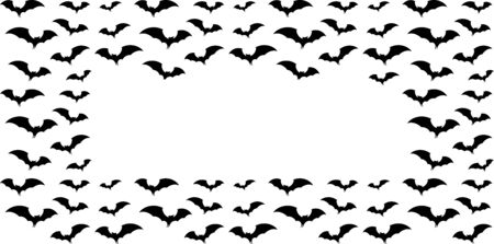 black silhouette of bats, frame for halloween party invitation.