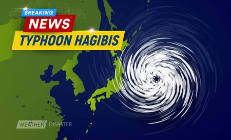 Super typhoon Hagibis, 5 category. Clouds funnel on map near japan, most powerful typhoon in japan, breaking news TV graphic design for weather channel, flat top view vector illustration 일러스트