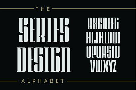 Set of tall letters with elegant serifs. Classic vintage style, decorative vector ancient alphabet. Ilustração