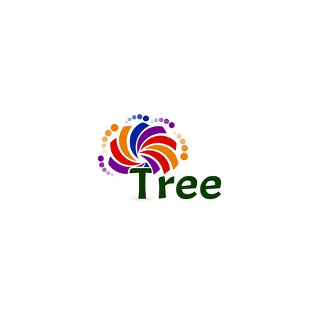 Abstract tree vector icon. Colorful palette isolated sign. Air conditioning company icon template. Evology saving, clean forest tree, vector illustration on white background Иллюстрация