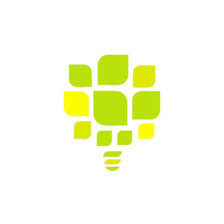 Energy saving lightbulb abstract vector icon. Green leaves of tree icon template. Vector illustration on white background.