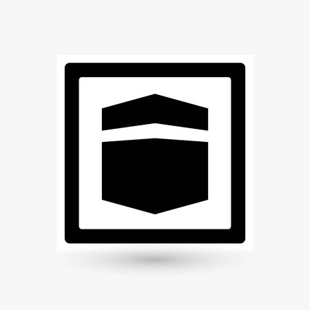 Kaaba, road sign design, black cube icon. Simple symbol of most sacred site in Islam. Building at the center of Islam s most important mosque, isolated vector illustration.
