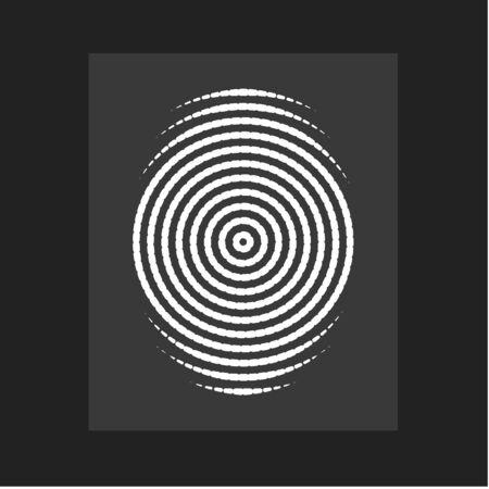 Huella digital, vector moderno. Se forman líneas circulares planas, círculo céntrico, identificación de persona. Ilustración de vector.