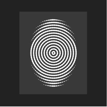 Fingerprint , modern vector. Flat circular lines form, centric circle, person ID. Vector illustration. Ilustración de vector