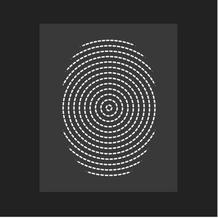 Fingerprint , modern vector. Flat circular lines form, centric circle, person ID. Vector illustration.