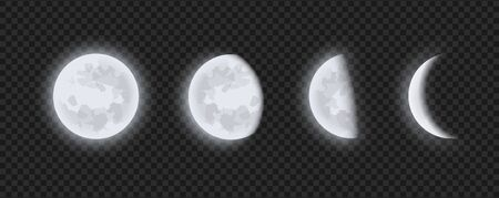 Moon phases, waning or waxing crescent moon on transparent checkered background. Lunar eclipse in stages from full moon to thin moon, realistic vector illustration.