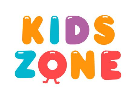 Kids zone cartoon vector . Colorful bubble letters for children's playroom decoration. Inscription on isolated background.