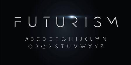 Alfabeto de estilo futurismo. Fuente de línea de segmento delgado, tipo minimalista para monograma elegante futurista moderno, dispositivo digital y gráfico hud. Letras de estilo minimalista, diseño de tipografía vectorial.