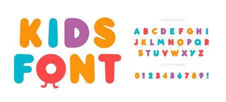 Ensemble de lettres et de chiffres pour enfants. Alphabet de style audacieux de dessin animé. Police enfantine pour événements, promotions, bannière, monogramme et affiche. Conception de typographie vectorielle.