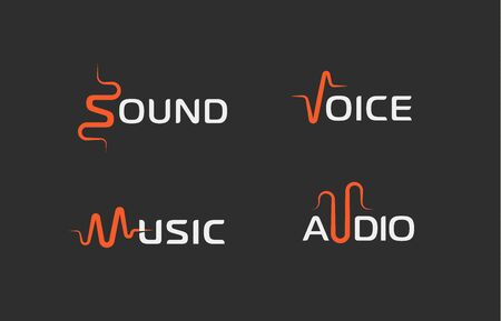 Set of sound wave abstract symbol, voice recorder template, music label, audio track sign. Vector logotype concepts.