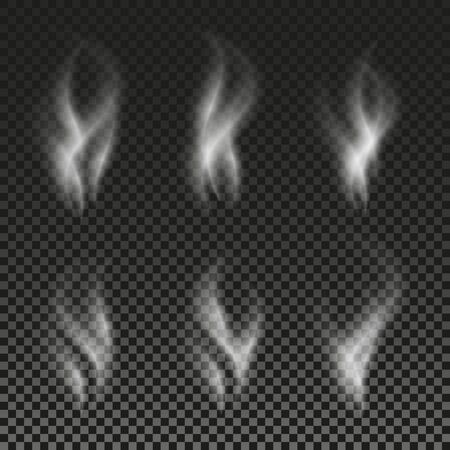White cigarette smoke waves on transparent background. Vector illustration set. Phantom image. Shadow on a checkered backdrop. Abstract supernatural phenomenon.
