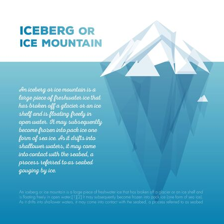White vector tip ice mountain vector illustration. Iceberg in minimal style design. Vector template for infographics. Blue clean water.
