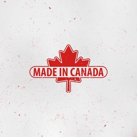 Made in Canada emblem. Maple Leaf Red stamp. National Flag. Vector illustration. 向量圖像