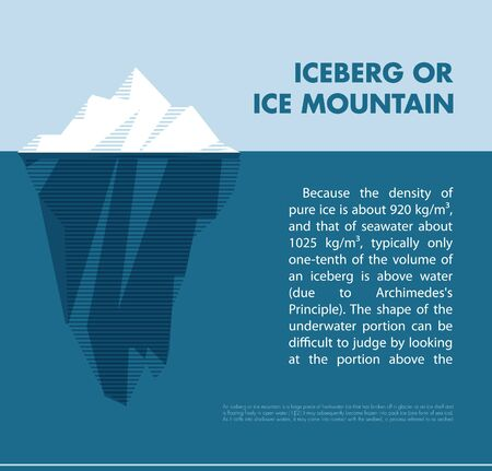 White vector tip ice mountain vector illustration. Iceberg in minimal style design. Vector template for infographics. Blue clean water. Isolated vector ice. Layout vector.