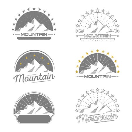 Mountains. Logo. Set. Vintage design. Collection. Retro. Typography.