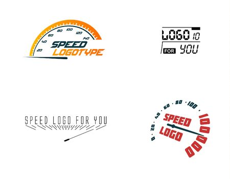 Automative logo set, speed car, hud design element. Hight up display. Vector speedometer logos set. Car element icons collection. Measured vehicle devices. Stock Illustratie