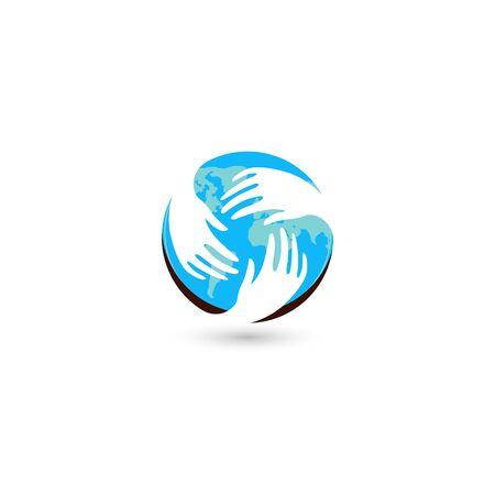 Isolated blue round vector logo. Global communication. Helpful people. White hands. Mercy sign. Refugee camp emblem. Round the world. Blue Earth. Round shape. Support illustration. Family image. Illustration
