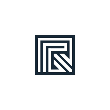 Letter R. Vector letter. Geometric isolated unusual logo. Stylized geometric shape with smooth corners. Logo architectural art of the creative team of young and experienced professionals.Lineart arrow Çizim