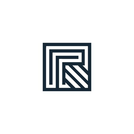 Letter R. Vector letter. Geometric isolated unusual logo. Stylized geometric shape with smooth corners. Logo architectural art of the creative team of young and experienced professionals.Lineart arrow Ilustrace