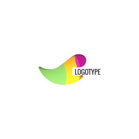Abstract unusual logo. Colorful vector isolated logotype. Abstarct shape. Rhinoceros logo. Tusk logo. Fang logo. Tooth logo. Colorful fang logo.