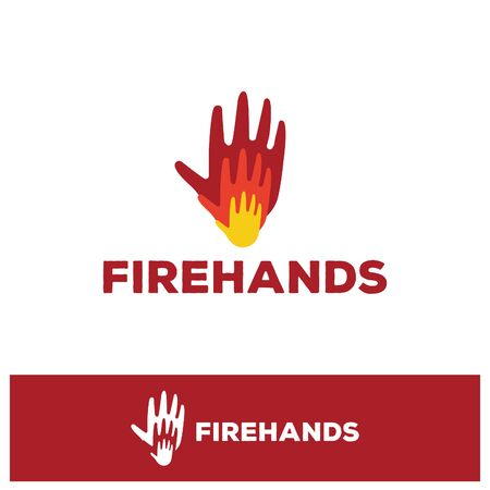 Isolated red and yellow hands on fire logo. Fire symbol. Firefighters logotype. Risk of burns illustration. Olympic games emblem. Energy sign. Prometheus element. Illustration