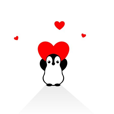 Isolated vector penguin logo. Designed animals icon. Cartoon illustration. Winter signs. Black, white and red. Graphic illustration for St.Valentines Day. Flat heart symbol. Love greeting card. Amour. Illustration